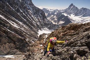 Liv Sansoz, lors de son enchainement des 82 sommets de 4 000 m des Alpes.