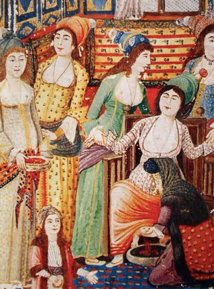 L'accouchement tel qu'il est dépeint dans le Zenanname (Le Livre des femmes) d'Enderunlu Fazıl, publié entre 1253 et 1286 [1837-1869]. ©  DR
