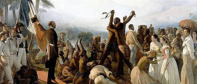 Proclamation de l'abolition de l'esclavage dans les colonies françaises, le 27 avril 1848. Tableau de François-Auguste Biard (1799-1882).