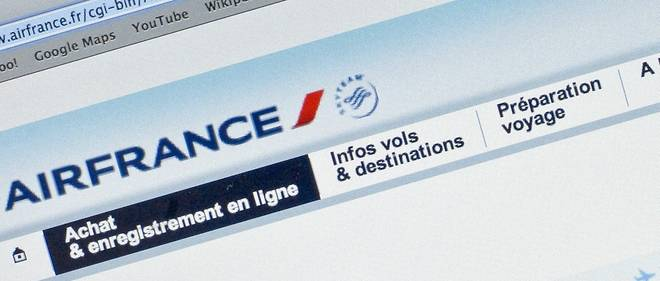 Site de réservation d'Air France. Image d'illustraton.