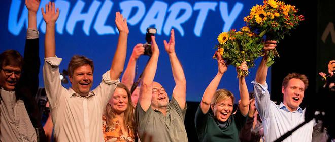La liesse des Verts allemands, arrivés devant le parti d'extrême droite AfD aux élections de Bavière, dimanche dernier.