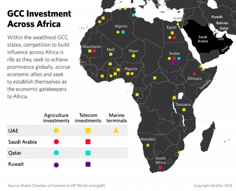 Les investissements des pays du Golfe en Afrique ©  Stratfor2018