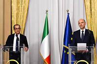 Le ministre italien de l'Économie et des Finances, Giovanni Tria, avec le commissaire européen Pierre Moscovici, le 18 octobre dernier.