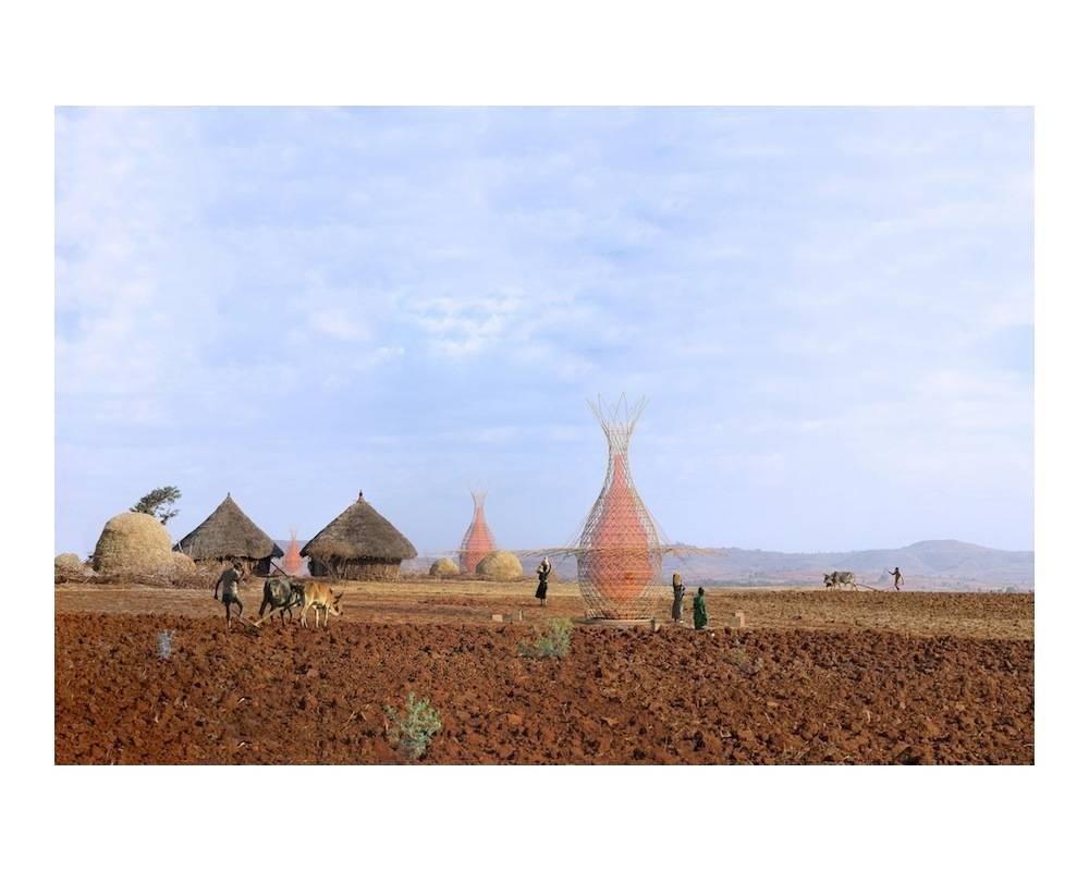 Des Warka towers en Ethiopie. ©  DR
