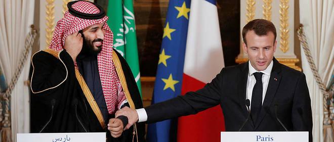 Le président français Emmanuel Macron a souligné l'espoir que représentait le prince-héritier Mohammed Ben Salmane pour l'Arabie saoudite lors d'une conférence de presse à l'Élysée le 10 avril 2018.