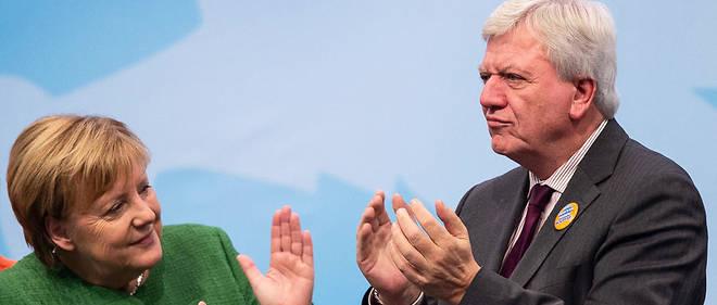 Angela Merkel et le ministre-président de Hesse, Volker Bouffier (CDU).