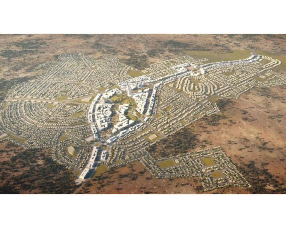 Une vue aérienne du chantier de la ville nouvelle de Yennenga.  ©  DR