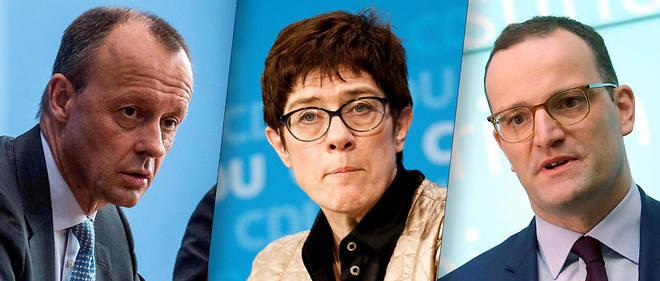 Friedrich Merz,Annegret Kramp-Karrenbauer etJens Spahn sont les prétendants pour reprendre la tête de la CDU.