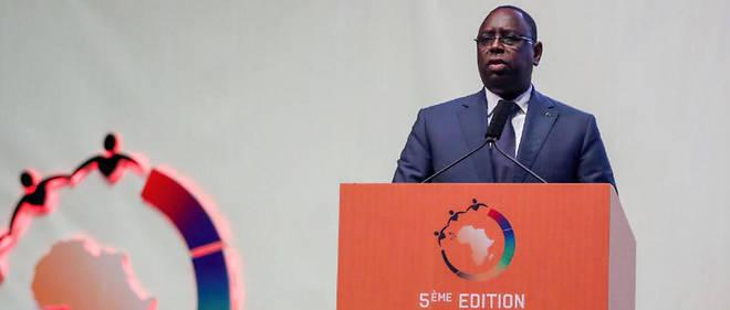 Macky Sall lors du discours d'ouverture du Forum de Dakar, le 5 novembre 2018.