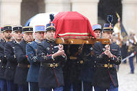 L'hommage national rendu au lieutenant-colonel de gendarmerie Arnaud Beltrame, le 28 mars 2018 aux Invalides.