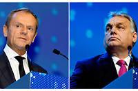 Selon Donald Tusk (à gauche) pour un être un bon démocrate-chrétien il fallait être le contraire de Viktor Orbán (à droite).  ©AFP