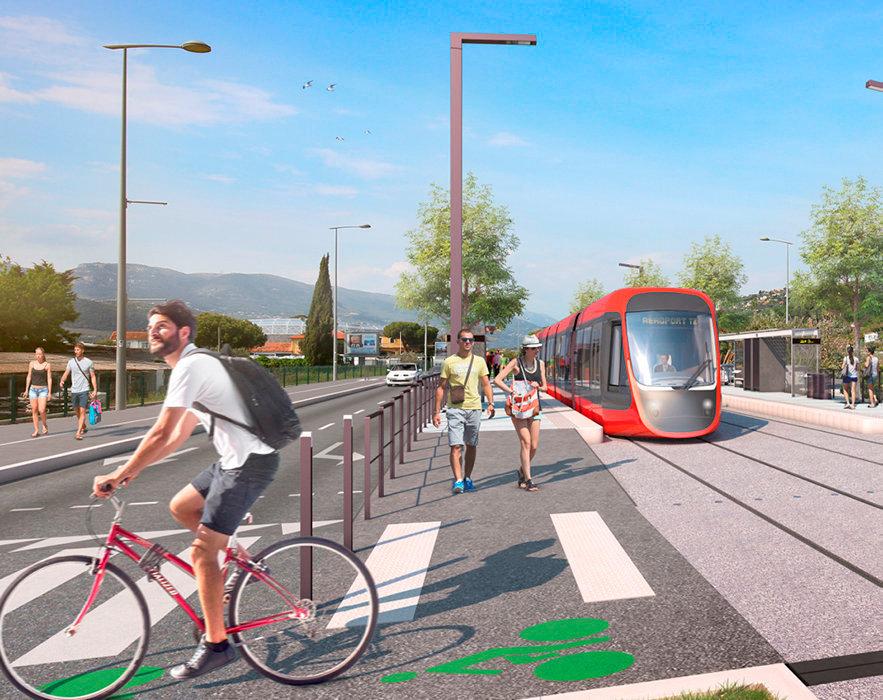 Cohabitation. Sur la ligne3du tram, la future station Eco-Parc.