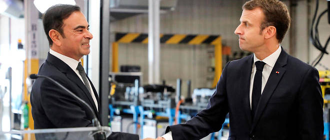 Emmanuel Macron et Carlos Ghosn à l'usine Renault de Maubeuge le 8 novembre dernier.