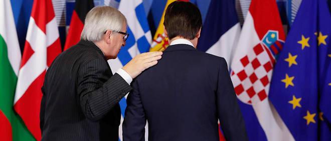 Le Premier minister italien Giuseppe Conte et le président de la Commission Jean-Claude Juncker. Les deux hommes doivent dîner ensemble samedi. L'occasion de trouver une porte de sortie ?