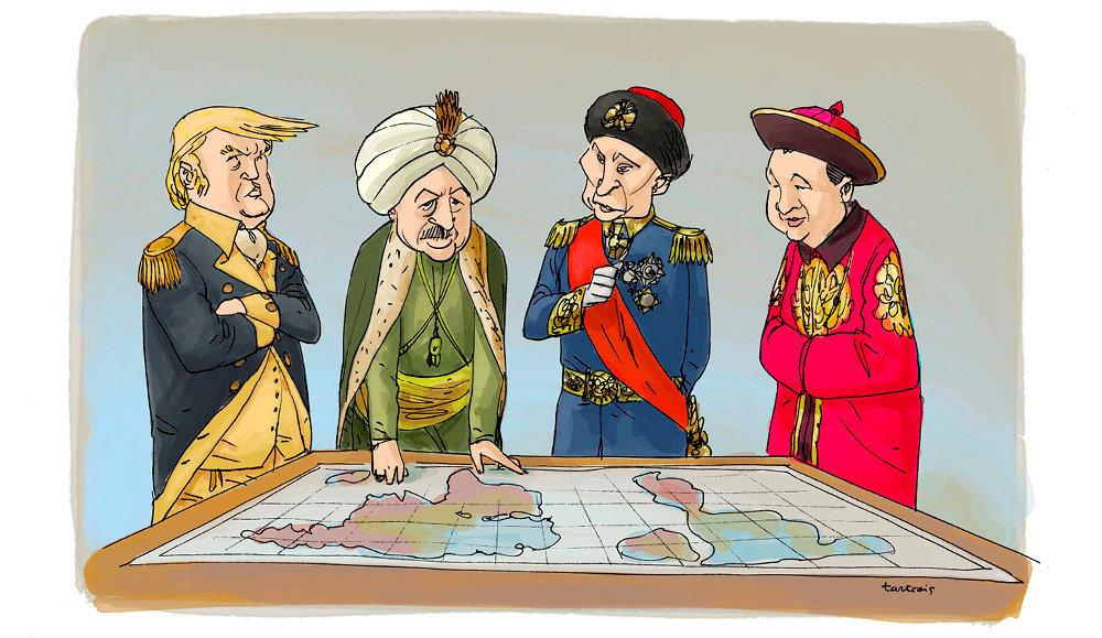 Donald Trump, Recep Tayyip Erdogan, Vladimir Poutine et Xi Jinping, vus par Tartrais.