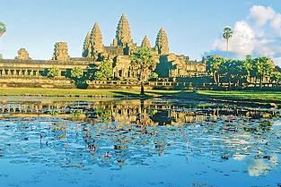 Panorama époustouflant sur le fameux temple d'Angkor Wat à Siem Reap