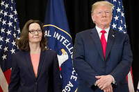 Donald Trump et la directrice de la CIA Gina Haspel.  ©SAUL LOEB