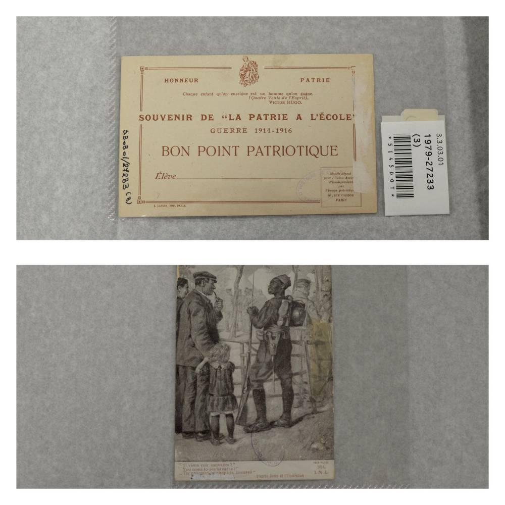 """Un """"bon-point patriotique"""" de 1914. """"Ici, le dessinateur fait référence aux zoos humains, avec la représentation d'une barrière"""" explique Sophie Leclercq. Pour une fois, ça n'est pas un Africain derrière celle-ci, mais des Allemands"""" ©  Musée national de l'Éducation"""
