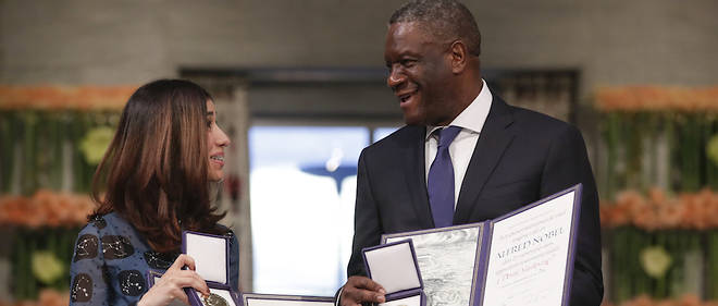 Le gynécologue de 63 ans et l'Irakienne de 25 ans, ex-esclave des djihadistes devenue porte-drapeau de sa minorité, ont reçu le prix des mains de la présidente du comité Nobel, Berit Reiss-Andersen, qui a salué « deux des voix les plus puissantes au monde aujourd'hui» contre l'oppression des femmes.