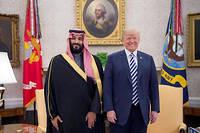 Donald Trump, qui a reçu en mars 2018 le prince héritier saoudien Mohammed ben Salmane, a rappelé que ce dernier avait nié tout rôle dans l'assassinat du journaliste Jamal Khashoggi.  ©Bandar Algaloud
