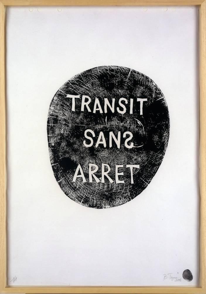 Barthélémy Toguo, Transit sans arrêt, 2011, woodprint on paper, 65 x 50 cm. 1/1 ©  Barthélémy Toguo