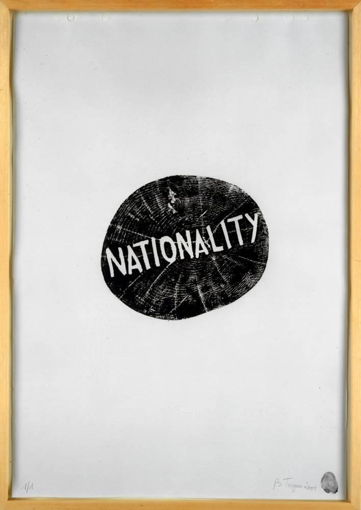Barthélémy Toguo, Nationality, 2011, woodprint on paper, 65 x 50 cm. 1/1 ©  Barthélémy Toguo