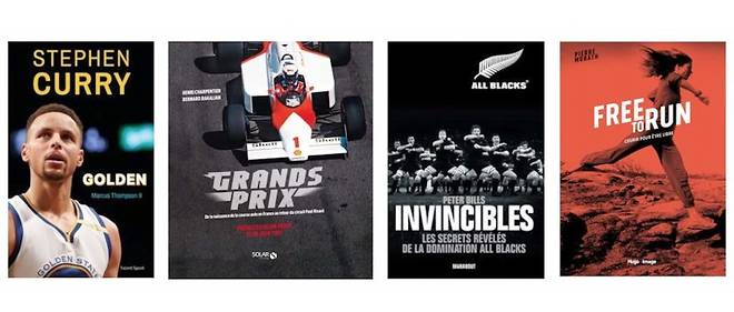Quelques livres de sport composant la sélection du Point avec, de gauche à droite, Curry Golden (chez Talent Sport), Grands Prix (Solar Editions), Invincibles (Marabout) et Free to Run (Hugo Image).