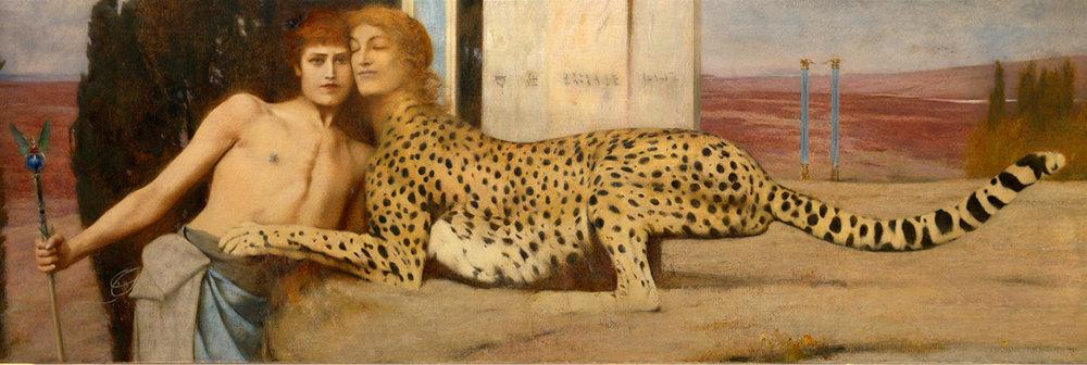 Onirique. «L'art» ou «Des caresses» (1896) est l'œuvre la plus connue de Fernand Khnopff. Marguerite, la sœur de l'artiste, prête ses traits au sphinx.
