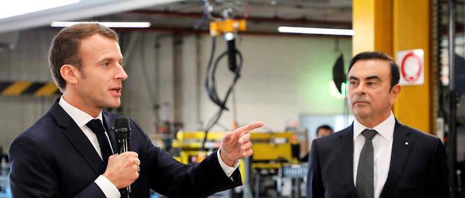 Emmanuel Macron et Carlos Ghosn dans l'usine Renault de Maubeuge le 8 novembre 2018.