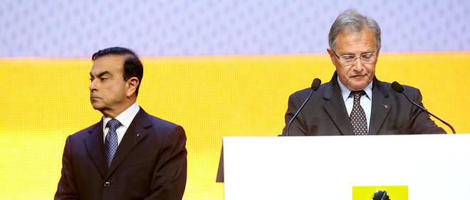 En 2011, Carlos Ghosn, à l'époque PDG de Renault-Nissan, et Philippe Lagayette, membre du conseil d'administration.