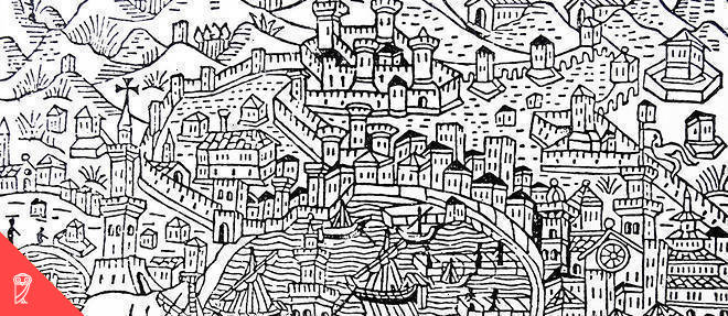 Woodcut of Venice during the 15th Century. Venice maintained a powerful fleet enabling international trade with the rest of Europe. Dated 15th Century