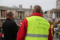 Des Gilets jaunes manifestent contre l'austérité le 12 janvier à Londres. En dépit de deux manifestations le week-end passé, le Royaume-Uni reste épargné par le phénomène jusqu'ici.