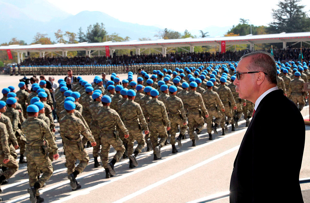 Chef de guerre. RecepTayyip Erdogan lors d'unecérémonie militaire, à Isparta, le12octobre2018.