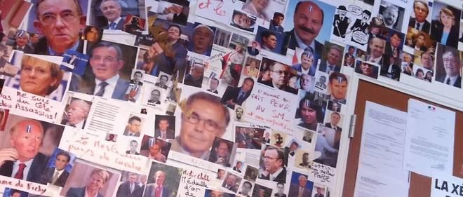 Le «mur des cons», affiché jusqu'en 2013 dans les locaux du Syndicat de la magistrature.