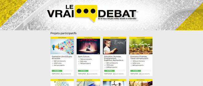 La plateforme des Gilets jaunes « Le Vrai Débat » se veut plus ouverte que celle du gouvernement, qui limite les interactions et les thèmes abordés.