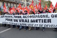 Les salariés de l'Afpa manifestent le 22 novembre à Paris contre le plan de restructuration dévoilé en octobre.  ©MIGUEL MEDINA
