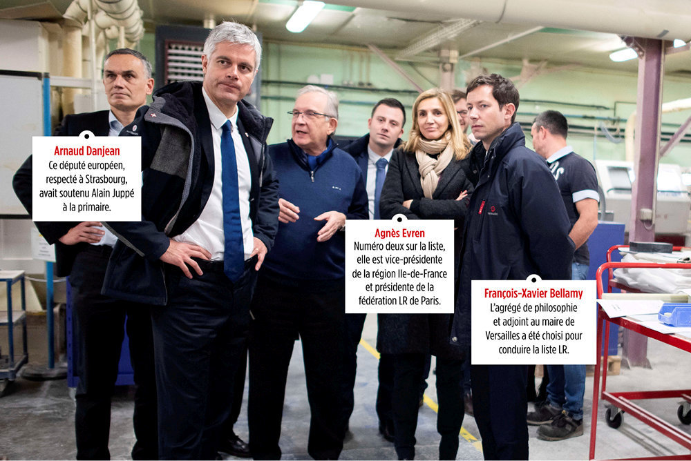 Au complet. Laurent Wauquiez et son équipe pour les européennes visitent l'entreprise Usiduc, spécialisée dans la fabrication de plastiques, à Faverois (Territoire de Belfort), le 1erfévrier.
