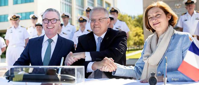 """Le Premier ministre australien a salué un """"plan très ambitieux"""" lors d'une cérémonie à Canberra en présence de la ministre française des Armées, Florence Parly."""
