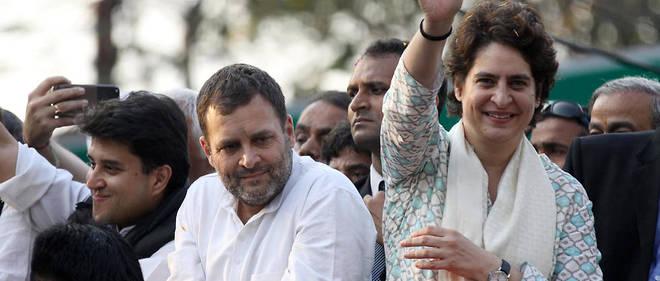Priyanka Gandhi avec son frère Rahul, chef de file du parti du Congrès, en meeting à Lucknow, capitale de l'Uttar Pradesh.