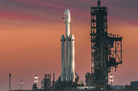 Une fusee Falcon Heavy au centre spatial Kennedy, en Floride, en juin 2018. Photo d'illustration.
