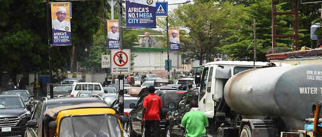 Une rue de Lagos, en mars 2018.