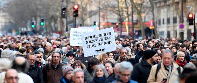 Manifestations contre l'antisémitisme après le meurtre de Mireille Knoll.