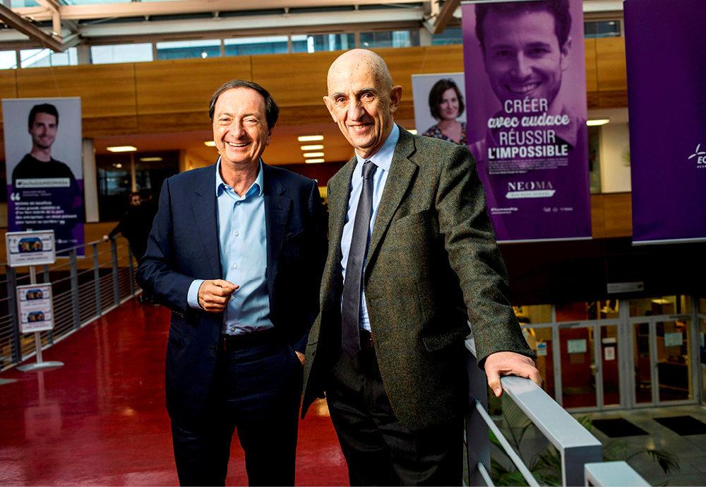 Engagés. Michel-Edouard Leclerc, nouveau président de la Neoma Business School, accueille Louis Gallois, président de la Féderation des acteurs de la solidarité, pour un cycle de conférences autour des humanités.