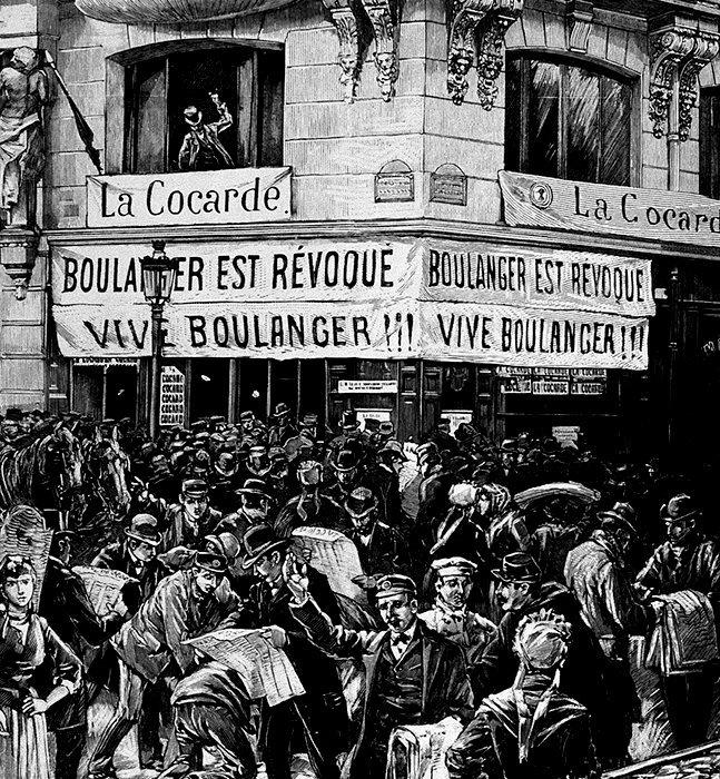 Première crise. Gravure illustrant la révocation du général Boulanger des cadres de l'armée, le 24mars 1888. Très populaire, il rassemblait les déçus de la IIIeRépublique, venus de l'extrême gauche comme de la droite nationaliste.