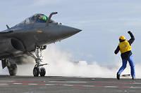 Un Rafale de la marine nationale s'apprête à être catapulté depuis le porte-avions «Charles de Gaulle», en mer Méditerranée, le 31 janvier 2019.