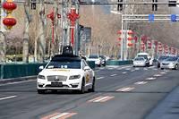Voiture autonome dans les rues de Pékin.  ©Luo Xiaoguang