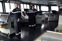 La passerelle navigation du porte-avions Charles de Gaulle, en Méditerranée, fin janvier 2019.