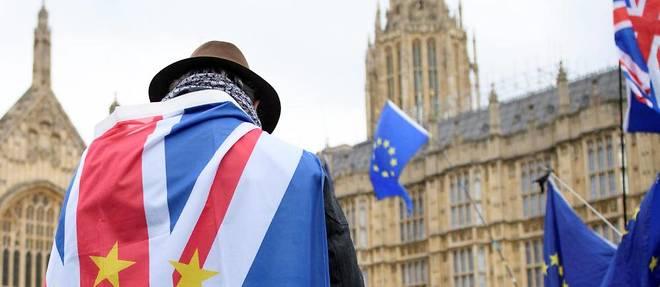 Un anti-brexiter devant le parlement de Westminster, en janvier. Les tergiversations britanniques provoquent les moqueries, alors que Theresa May repart au front.