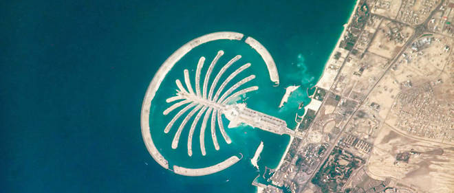 Palm Jumeirah, un archipel artificiel des Émirats arabes unis.