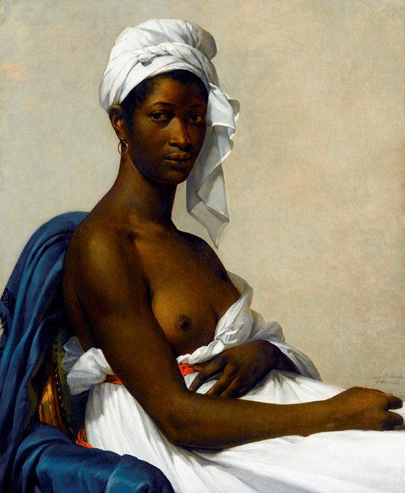 Documentée. «Portrait de Madeleine» (1800), par Marie-Guillemine de Laville-Leroux initialement intitulé «Portrait d'une négresse», puis «Portrait d'une femme noire».